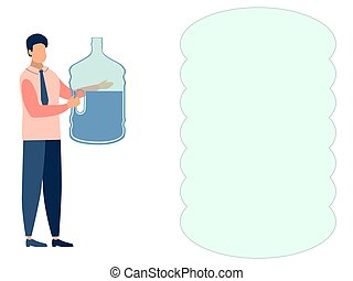 A man, a water delivery officer. Text bubble. In minimalist style. Cartoon flat Vector