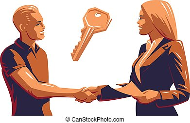 A man and a woman do a handshake and conclude a business...