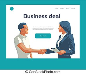A man and a woman do a handshake and conclude a business deal. Vector illustration.