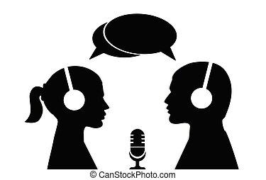 A man and a woman in headphones with microphone