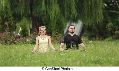 A man and a woman meditate in bliss. Young yoga instructors practice in a city park on green grass.