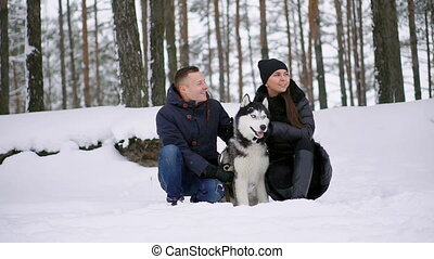 A man and a woman sitting hugging a dog Siberian husky in...