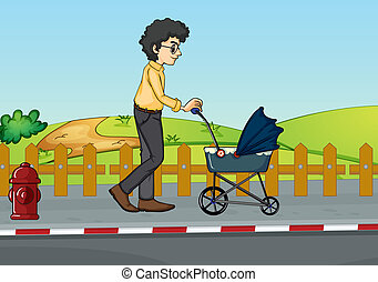 A man and baby pram