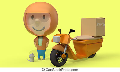 man and  bike delivery 3d rendering for  transport  content.