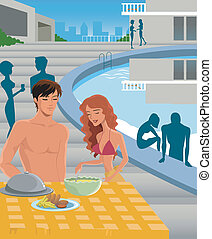 A man and woman eating poolside