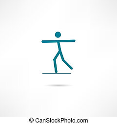 A man balancing on a tightrope