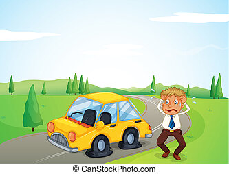 A man beside his yellow car with a flat tire