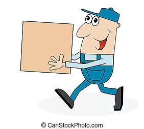 a man carrying a big box