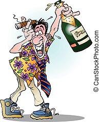 A man celebrating crazy - Vector cartoon illustration of a...