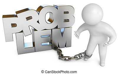 A man chained to a problem. White background. 3d render