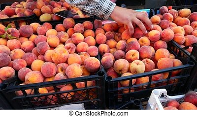 A man chooses peaches on the market