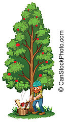 A man chopping near the fruit bearing tree