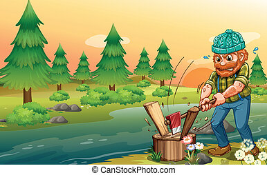 A man chopping woods at the riverbank