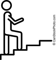 A man climbs the stairs icon, outline style