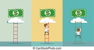 a man climbs to the money
