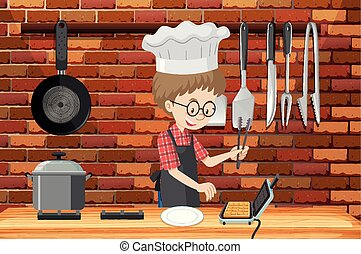 A Man Cooking Waffle in Kitchen