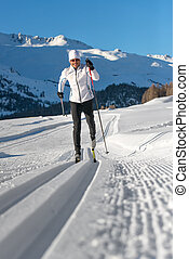 A man cross-country skiing