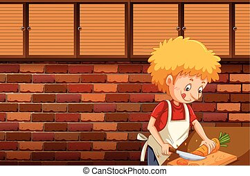 A Man Cutting Carrot in Kitchen