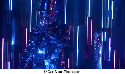 A man dances in neon light in a glass suit. Shiny sparkling silver suit, and blue purple neon light. New year party