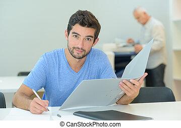 a man doing an examination