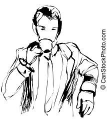 man drinking morning tea