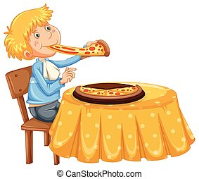 A Man Eating Pizza on White Background
