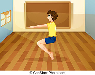 Illustration of a man exercising inside the studio