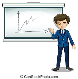 A man explaining the graph in the bulletin board