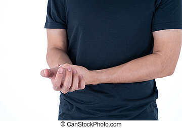 A man feeling exhausted and suffering from wrist pain and injury on isolated white background. Health care and medical concept.