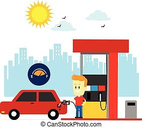 A Man Filling Up Gas Tank Car at Gas Station (in Flat Cartoon Style)