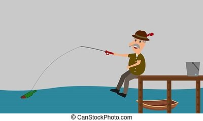 a man fishing a bottle - animation