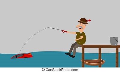 a man fishing a car - animation