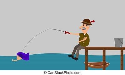 a man fishing a mermaid - animation