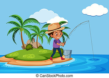 A man fishing at the island