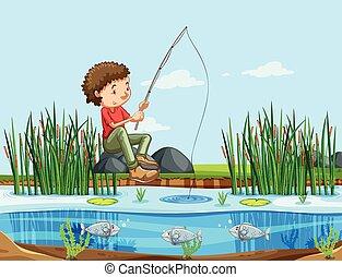 A man fishing at the lake