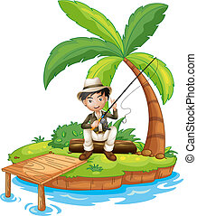 A man fishing in the island
