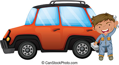 A man fixing the orange car - Illustration of a man fixing...
