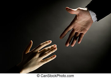 a man giving a friendly helping hand