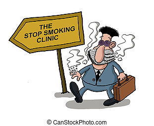 A man goes to a smoking clinic with her mouth full of cigarettes