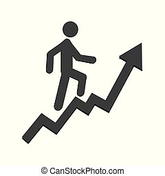 A man goes up the stairs with an arrow, growth of business concept and the path to success, icon design vector illustration isolated on white background