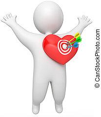 A man got a dart in the heart, 3d render