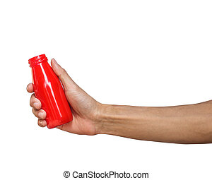 A Man hand holding red bottle isolated on white background with clipping path.