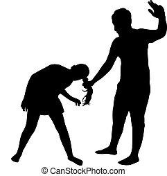 a man hitting the girl