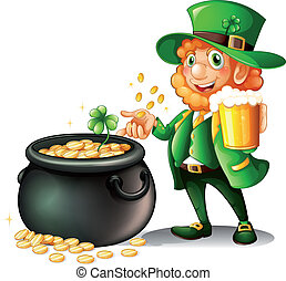 A man holding a beer beside a pot of coins