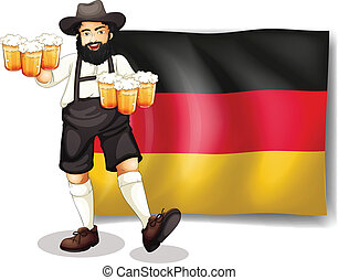 A man holding a beer in front of a flag