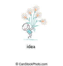 A man holding a bouquet of light bulbs. Concept ideas.