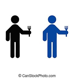A man holding a fork icon
