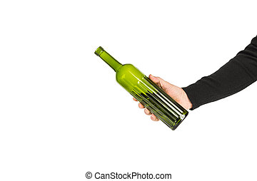 A man holding a green bottle