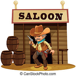 A man holding a gun in front of a saloon bar - Illustration ...
