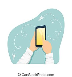 A man holding a smartphone. Modern gadgets. Isolated flat vector illustration.